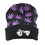 Weed Marijuana Acrylic Beanie Hat , Leaf Pot Cuffed Knit Winter Weed Beanie Hat Mens Women (Purple)