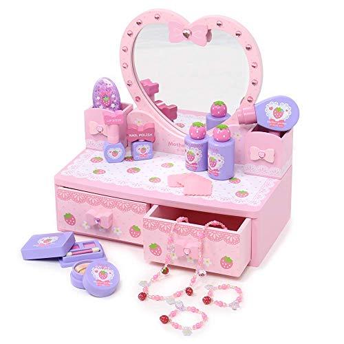 マザーガーデン おままごと 野いちご ハートのドレッサー ピンク 〔女の子 おもちゃ 木製 お化粧セット〕 キラキラ コスメ メイクアップ ごっこ