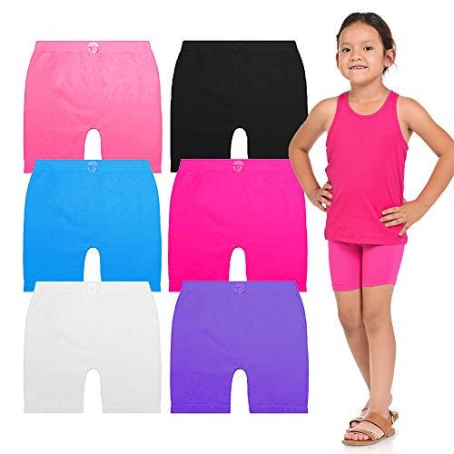 BASICO Girls Dance, Bike Shorts 6, 12 Value Packs - for Sports, Play or Under Skirts (Big Medium (8-11), 6 Assorted Pack#2)