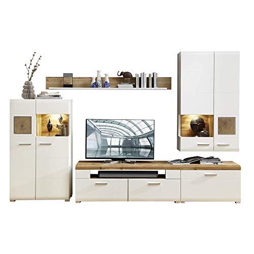 Fun Plus Wohnwand Komplett-Set mit schönen Hirnholz-Applikationen & Eiche Dekor - Moderne Schrankwand für Ihr Wohnzimmer - 320 x 205 x 47 cm (B/H/T)