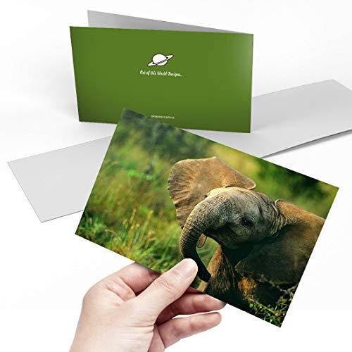 Biglietto di auguri (A5) – Baby Elephant Wild Animal Blank Greetings Card Birthday Kids Party Boys...