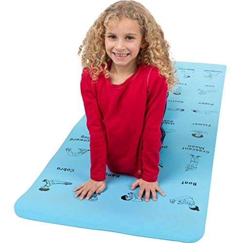 "Really Good Stuff Children's Yoga Mat, Yoga for Kids with 24 Printed Poses – Non Toxic - Encourage Students to Exercise, be Calm, de-Stress, and be Mindful (68"" L x 24"" W x 5mm Thick)"