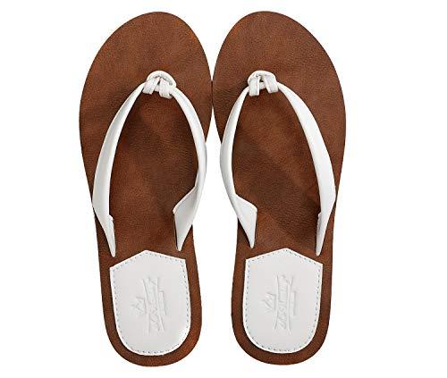 AX BOXING Zehentrenner Damen Flip Flops Schickes Einfach Leder Sandalen Sommerschuhe Hausschuhe Weich Strand Schwimmbad Drinnen/Draußen größe 36-41 (Weiß AA, Numeric_38)