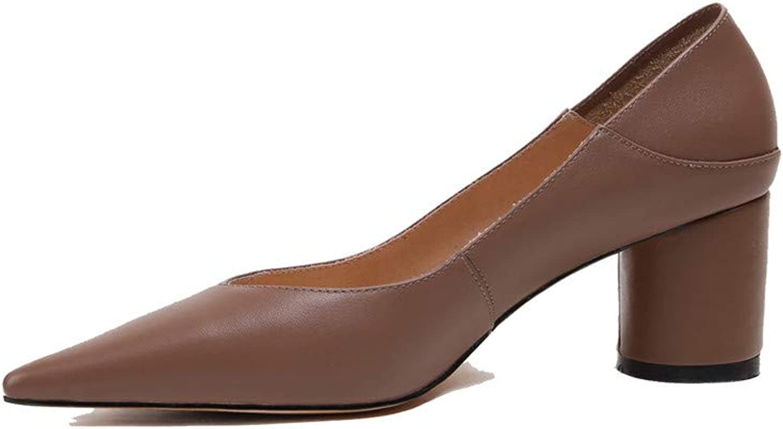 Nio Sju Sju Sju genuina läder Kvinnors spetsiga tå Chunky Heel Handgjort Concise Slip På Formella Kvinnors Pumpar  fantastiska färgvägar