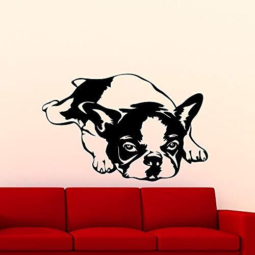 olwonow Perro Bulldog Francés Tatuajes De Pared Vinilo Decorativo de Cuento de Hadas Extraible Murales Hogar Paredes Arte para niños Dormitorio-105x68cm