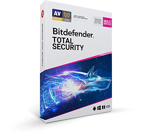 Bitdefender Total Security 2020 – 5 Geräte | 1 Jahr / 365 Tage (Windows PC, macOS, Android & iOS) - Aktivierungscode & Installationsanleitung (bumps packaged)