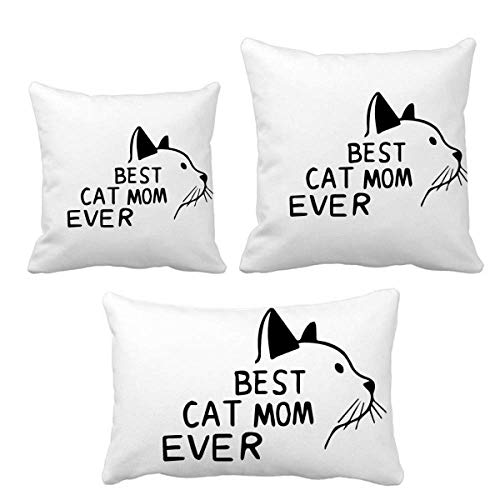Best Cat Mom Ever - Juego de fundas de cojín, diseño de cita de regalo