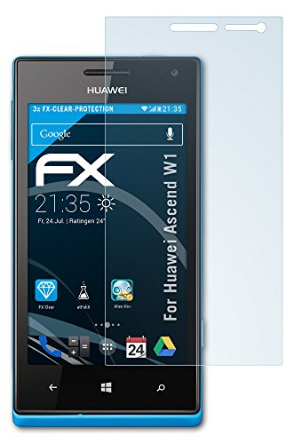 atFoliX Huawei Ascend W1 Displayschutzfolie (3 Stück) - FX-Clear, kristallklare Premium Schutzfolie