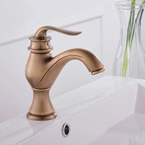 Grifos de lavabo Latón dorado Grifo de lavabo de baño de una sola palanca Lavado de baño Mezclador de agua fría y caliente Grifo Wc Cock