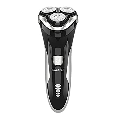 SweetLF Electric Shavers Men Wet and Dry Waterproof Electric Razor Cordless 3D Rechargeable Rotary Shaver Razor for Men with Pop-up Trimmer, Black from SWEETLF