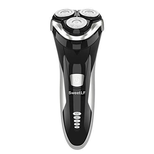 SweetLF Electric Shaver for Men Wet and Dry Waterproof Electric Razor Cordless 3D Rechargeable Rotary Shaver Razor for Men with Pop-up Trimmer, Black