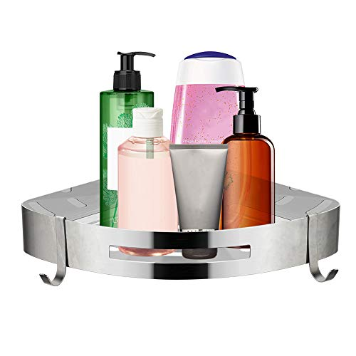 COSANSYS Duschregal Ohne Bohren Edelstahl Duschablage Eckablage Duschkorb mit 2 Haken Selbstklebend Eckregal Edelstahl Dreiec Badregal für Bad,Küche