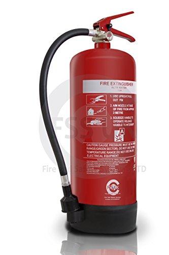 Wassernebel-Feuerlöscher mit CE. und BSI.Gütesiegel, 6l-Ideal für Boote, Küchen, Restaurants, Büros, Lager, Hotels und alle Feststoffbrände.
