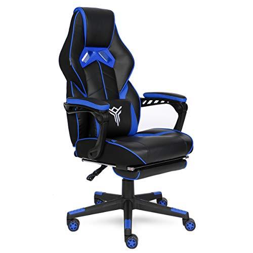 ELECWISH Ergonomic Computer Gaming Chair, Large Size PU Leather High Back Office Racing Chairs with Widen Thicken Seat and Retractable Footrest and Lumbar Support Video Game Chair (Blue(Muscle Grain))