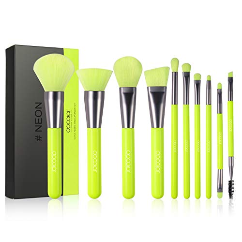 Docolor Makeup Brushes 10 Pcs Premium Synthetic Kabuki Foundation Brush Blending Face Powder Blush Concealers Eye Shadows Makeup Brush Set Neon Green