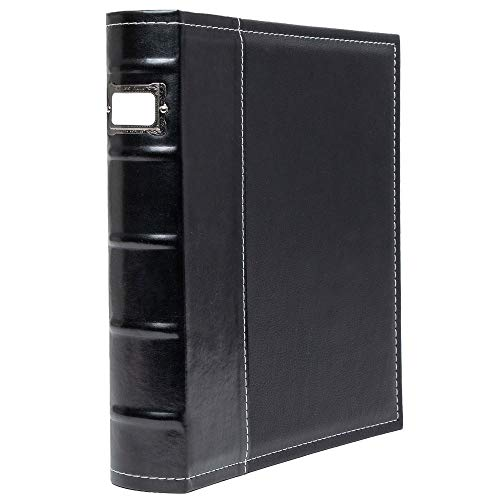 Bellagio-Italia 3 Ring Binder - 1 Inch Ring Stores up to 250 Pages - Classy Faux Leather Binder for Presentations, File Storage, and Trading Cards, Black 1-Pack (30303)