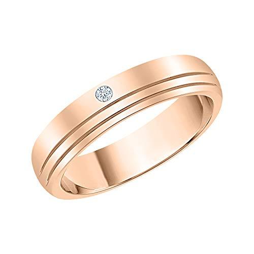 KATARINA Alianza de boda para hombre con acento de diamante en oro de 14 quilates (J-K, SI2-I1)