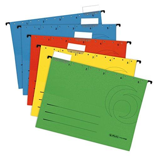 20er Set Herlitz 5874656 Hängemappe A4 UniReg farbig sortiert zu 5er im Polybeutel Kraftkarton, 230 g/qm (Hängemappe | 20er Set, sortiert)
