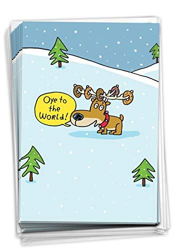 NobleWorks - 12 Happy Hanukkah Cards Boxed (1 Design, 12 Cards) - Funny Religious Chanukkah Notecard Set, Bulk Holiday Greetings - Oye to the World C5752HKG-B12x1