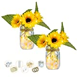 Shiny Flower 2 Set Rustic Wall Hanging Decor Mason Jar Decoration with Sunflowers LED Fairy Lights and Hydrangea, Farmhouse Sconces for Wall Table Office Decoration
