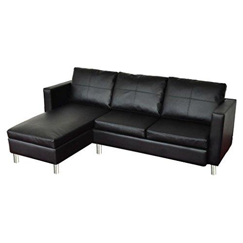 vidaXL Divano Componibile a 3 Posti in Pelle Nero Angolare Sezionabile Sofa