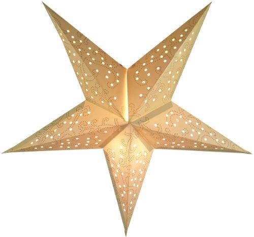 Guru-Shop Plegable Adviento Estrella de Papel Starlight, Estrella de Navidad Tantalos Pequeo - Naturaleza, Blanco Crema, 40x40x15 cm, Estrellas de Papel - Monocromo