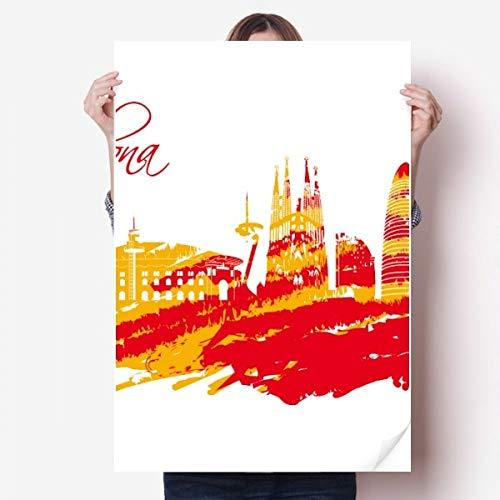 DIYthinker City Silhouette Rood Geel Barcelona Vinyl Muursticker Poster Fotobehang Kamer Decal 80X55Cm