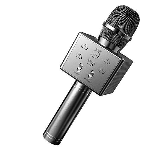 BeTIM Microfono Karaoke Bluetooth Wireless, Bambini Senza Fili Adulti Portatile Karaoke Microfono con Altoparlante Compatibile con Tutti gli Smartphone e PC,per Casa KTV Regalo di Compleanno(Nero)
