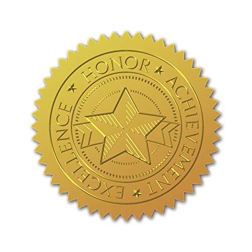 CRASPIRE 100 Unidad de Sellos de Certificado de Lámina de Oro En Relieve, Pegatinas Autoadhesivas para Decoración de Medallas, Certificación, Graduación (Logro de Honor)