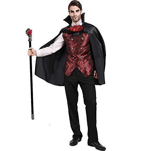 EraSpooky Herren Vampir Kostüm Umhang Faschingskostüme Cosplay Halloween Party Karneval Fastnacht Kleid für Erwachsene