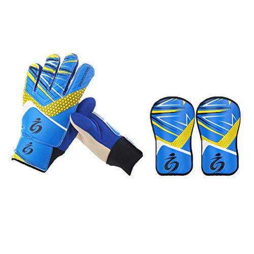 Vosarea Torwart-Torwarthandschuhe, starker Griff für die härtesten Einsparungen, einschließlich 1 Paar Schienbeinschutz und 1 Paar Handschuhe - Größe 6 (blau)