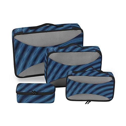 Organizador de Equipaje de Viaje Cubos de Embalaje Resumen 3D Líneas Azules Cubos de empaque de la licuadora Organizador de Viaje Set Organizador de Cubo Viaje Llevar en 4 Piezas Organizador de Malet