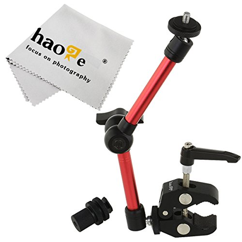 Haoge 11 inch Articulating Friction Magic Arm with Small Clamp Clip for HDMI LCD Monitor LED Light DSLR Camera Video Tripod Flash Lights Microphone TPCAST HTC Vive Pro Base Station lightinghous Red