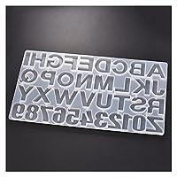樹脂金型 シリコーンモールドエポキシ樹脂 紫外線ジュエリー作りキーホルダーのための番号の文字形の鋳造金型 DIY.ツール (Color : White)