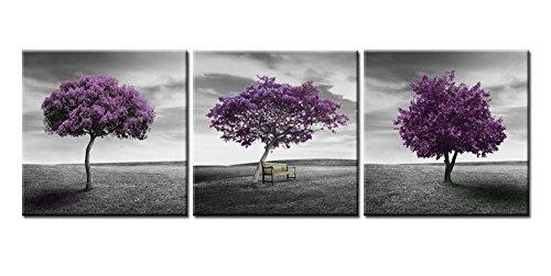 Impresión sobre lienzo cuadro artístico para decoración del hogar paisaje de prado árbol morado campo verde en estilo blanco y negro obra de arte enmarcada de 3 piezas 3 paneles