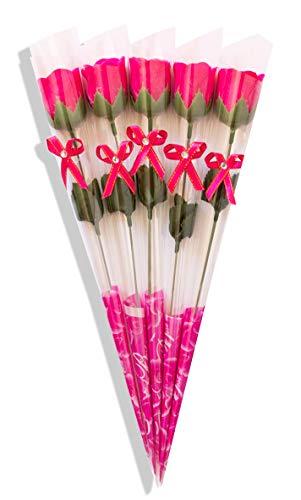 Sevenriver Handgemachte koreanische Seife Rose pink in Geschenkverpackung mit Schleife, 5 Stück