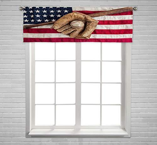 ECZJNT Vintage Baseball bat Glove and Ball on American Flag Window Curtain Valance Rod Pocket Size 54x18 Inch