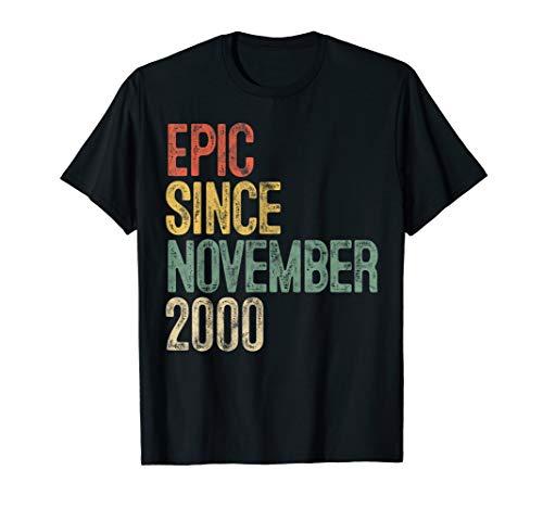 Fun Epic Since November 2000 19th Birthday Gift 19 Year Old T-Shirt