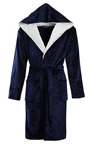 STONEBRIDGE Heren Super Zachte Mannen Dressing Jurk Hooded Badjas (Blauw/Hooded, XX-Large)