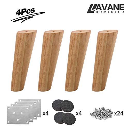25cm Holz Tischbeine, La Vane 4 Stück Massivholz Schräg Konisch Ersatz Möbelfüße Möbelbeine mit Montageplatten & Schrauben für Sofa Bett Schrank Couch Stuhl