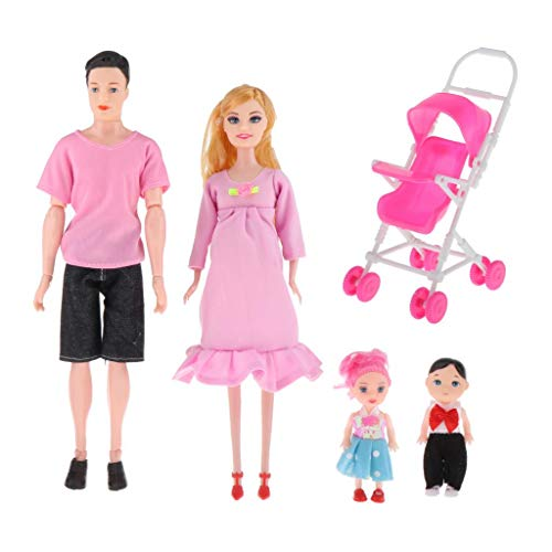 lahomia Family Doll Set Dad Pregnant Mom Daughter Son Baby for Birthday Girl