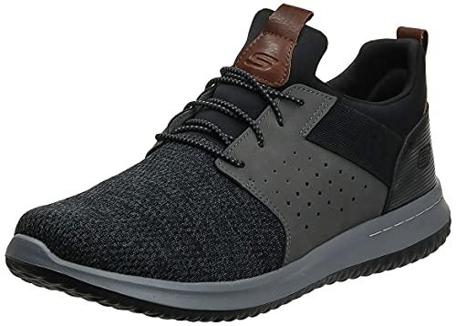 Skechers Men's Classic Fit-Delson-Camden Sneaker, Black/Grey,9.5 Wide US