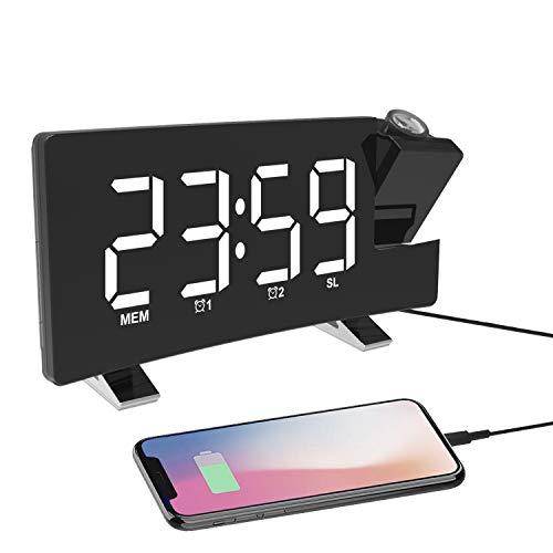Reloj Despertador de Proyección, Despertador Digital con Radio FM, Puerto de Carga USB, Pantalla LED Curva de 7.1' de Ancho, 4 Niveles de Brillo, Alarma Dual, Snooze(Incluido el Adaptador)