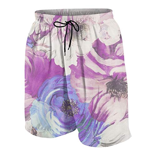 Floral Vintage Wallpaper Pattern Junior Boy's Youth Swimming Trunks Briefs Shorts(18-20 Years,White)