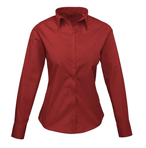 DigitalSpot - Camiseta de Popelina para Mujer, Cuello con Cuello Redondo, Manga Larga, Estilo Casual Negro Granate XXL