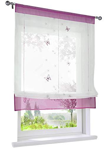LiYa 1 Stück Raffrollo mit Schmetterling Stickerei Raffgardine Transparent Voile Tunnelzug Vorhang (BxH 100x140cm, Beere)