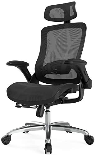 Hbada Ergonomic Office Chair, High-Back Executive Mesh Desk Chair, Height Adjustable Chair with Flip-Up Padded Armrest, Breathable Computer Chair with Adjustable Headrest and Lumbar Support, Black.