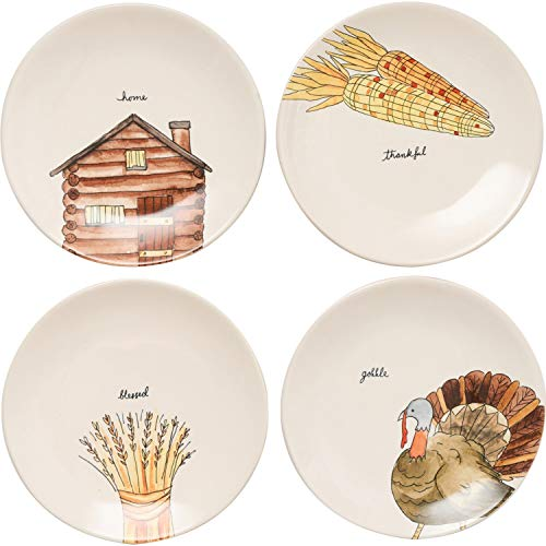Rae Dunn Magenta Ceramic Thanksgiving Home, Thankful, Blessed, Gobble Salad Appetizer Dessert Circle Small 8' Plate Eat (Set of 4) (8 in, Home, Thankful, Blessed, Gobble)