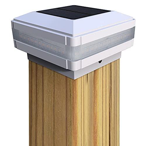 GEYUEYA - Copertura solare per paletti di recinzione a colonna, lampada solare per esterni, IP65, impermeabile, per pali in legno, piattaforma, patio, recinzione, illuminazione per recinzioni