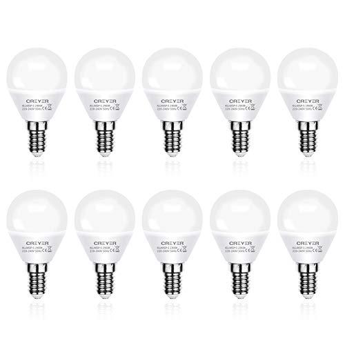 Creyer E14 LED Lampe G45 - E14 LED Birne 5W ersetzt 60W Glühlampen, Warmweiß(2900K), 550lumens, Nicht Dimmbar E14 Energiesparlampe, E14 LED Leuchtmittel, AC 220V-240V - 10er Pack